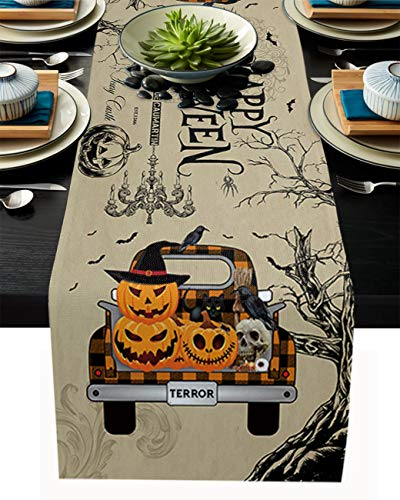 Halloween Table Runner Linen Burlap Dresser Scarves Fall Pumpkin Patch Truck Vintage Background 13x90 Inch Indoor/Outdoor Use Table Runners for Farmhouse Kitchen/Dining Room/Garden/Wedding Reception