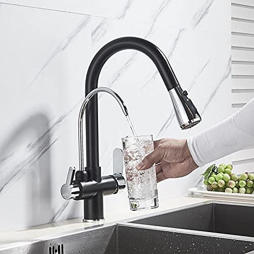 Grifo de cocina extraíble cromado negro Agua pura Latón Grifo mezclador de fregadero frío y caliente de tres vías