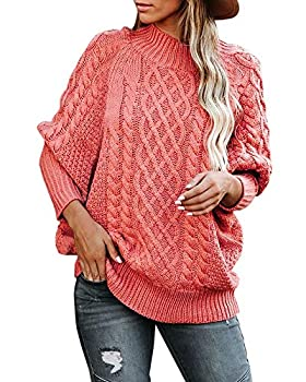 Fekermia Womens Turtleneck Oversized Sweaters Plus Size Batwing Sleeve Chunky Cable Knit Pullover Loose Jumper Tops  3X Pink