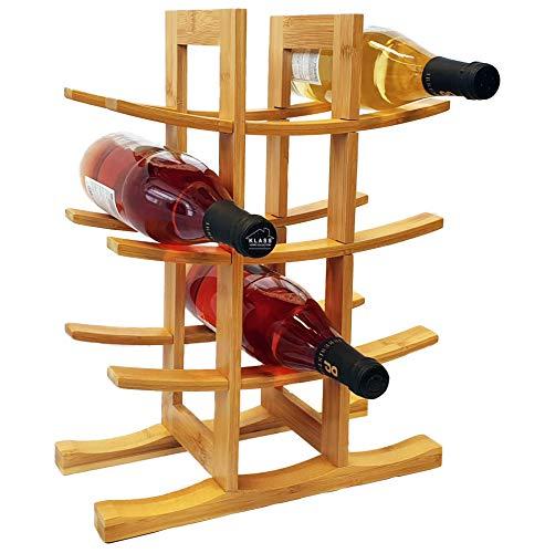 12 Bottle Klass Home Wine Rack | Wine Rack Free Standing | Wine Racks Free Standing Wooden | 100% Natural Organic Bamboo Wine Rack Modern Design Wooden Wine Rack | Wine Bottle Holder, Wine Holder
