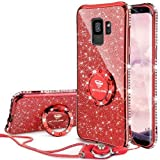 OCYCLONE Galaxy S9 Case, Glitter Luxury Bling Diamond Rhinestone Bumper Cute Galaxy S9 Phone Case for Girls with Ring Kickstand Sparkly Protective Samsung Galaxy S9 Case for Girl Women - Red