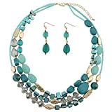 COIRIS Multi Layer Shell Beaded Statement Necklace for Women Jewelry (N0001-Teal)