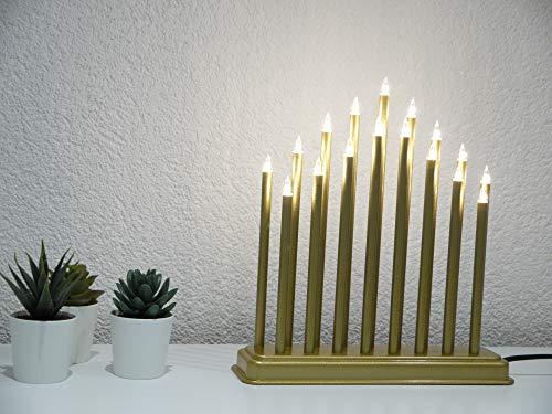 Dapo Weihnachts-Stimmungsleuchte Pyramide 17 flammig goldfarben Dekoleuchte Fensterbeleuchtung