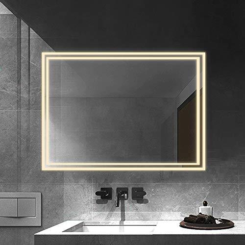 Janboe LED Badspiegel 80x60cm Badezimmerspiegel mit Beleuchtung Warmes Lichtspiegel Wandspiegel 3000K