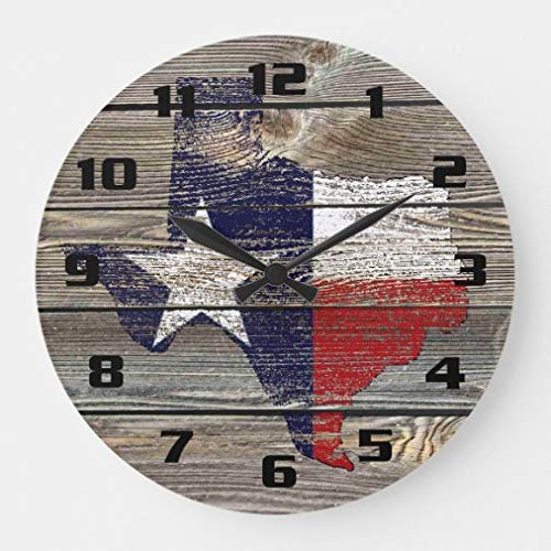 onepicebest 12 Inch Silent Non-Ticking Wall Clock, Authentic and Rustic Texas Map and Flag On Wood Large Wooden Clock, Home Office Classroom School Clocks