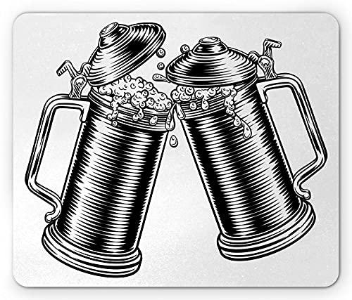 Alfombrilla de ratón de cerveza, ilustración monocromática de tazas de jarra de tostado del Oktoberfest alemán, alfombrilla de ratón de goma antideslizante rectangular, gris carbón estándar y