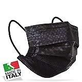 50 Mascherine MADE IN ITALY Tipo II Protezione Viso Certificate CE in 5 Pacchetti da 10 Pezzi (Nero)