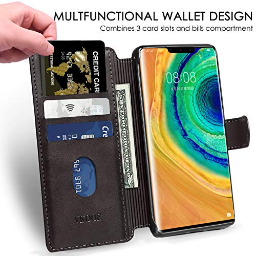 ykooe Handyhülle für Huawei Mate 30 Pro Hülle, Schwarz PU Leder Schutzhülle für Huawei Mate 30 Pro Flip Case Tasche - 2
