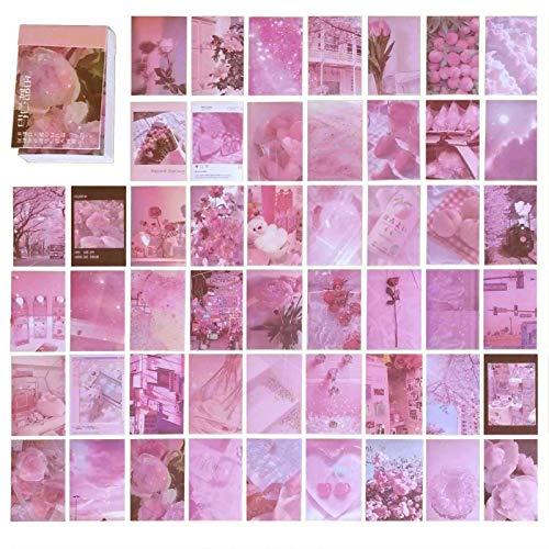 DONLAONE フレークシール かわいい 大量 ステッカー オシャレ 手帳用 海外のシール セット おしゃれ ノート カレンダー スケジュール帳 アルバム 風景 ステッカー レトロ かっこいい 可愛い 和紙 シール 大人 50枚セット(Pink Memo