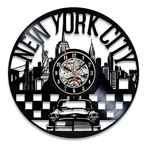 LKJHGU New York Schallplatte Schallplatte Wanduhr Modernes Design Freiheitsstatue 3D-Dekoration Wanduhr Wanduhr...