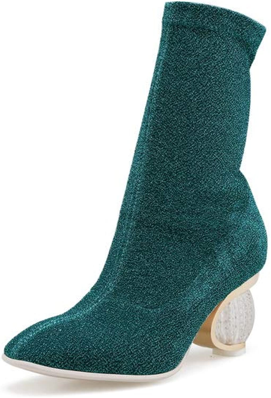 AN Womens Chunky Heels Unique Platform Jewels Microfiber Boots DKU02704