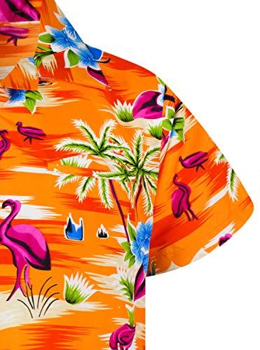 Funky Hawaiian Shirt, Shortsleeve, Flamingos Old, Orange, 3XL