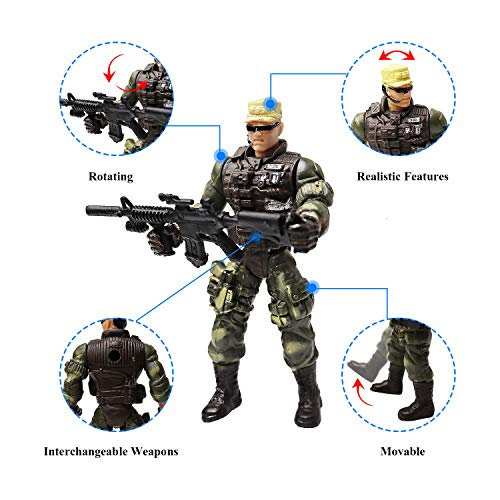 6 Pcs Large Action Figure Army Soldiers Toy with Weapon / Military Figures Playsets
