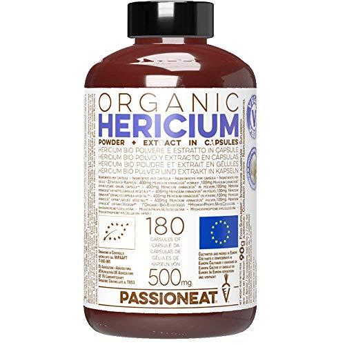 Hericium erinaceus Bio Europeo - Polvo y extracto - 180 cápsulas Veg de 500 mg