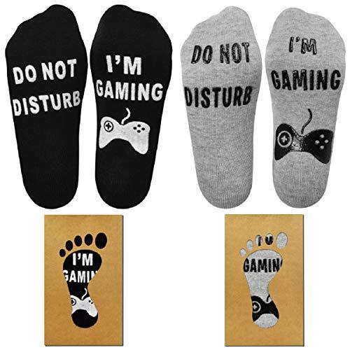 Tuopuda Lustige Socken Damen Herren Do Not Disturb I'm Gaming Neuheit Baumwollsocken 2 oder 3 Paare Knöchel Socken für Gamer Non Slip Haussocken Wintersocken Gaming Socken Geschenk (Schwarz + Grau)