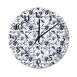 Quartz Clock Japanese Ink Paint with Flourishing Flower Patterns Oriental Imagery Print Retro Quartz Decorative Wall Clock Easy to Mount on The Wall Blue 9.8 Inch