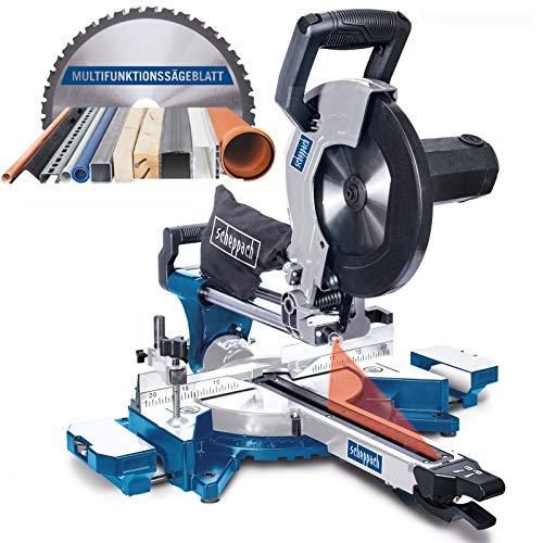 Scheppach HM110MP Kappsäge für Holz, Alu, Stahl, Kunststoff, Kupfer - Multifunktions Kapp-Zug-Gehrungssäge 2000W mit 2 Geschwindigkeiten (Ø254 mm Sägeblatt, Schnittleistung von 340 x 90 mm)