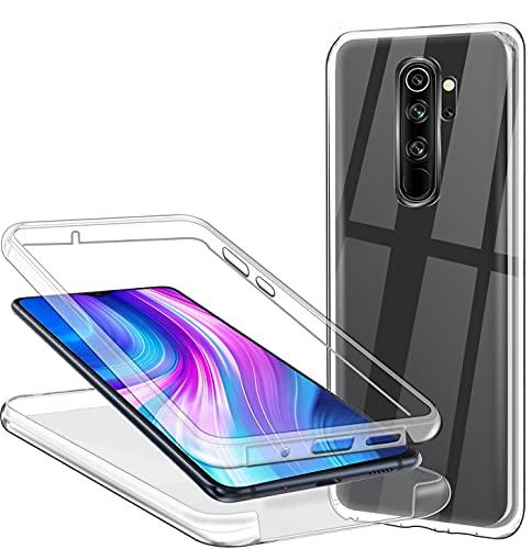 Hülle für Xiaomi Redmi Note 8 Pro Handyhülle 360 Grad, Transparent Full Schutz Kratzfest Dünn Durchsichtige Hülle Silikon Schutzhülle, Hart PC Zurück + Weich TPU Vorderseite