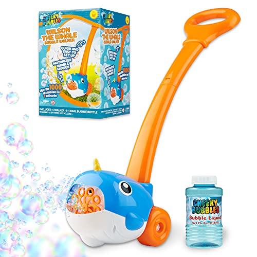 Cheeky Bubbles Tagliaerba Giocattolo da Bambino, Macchina Bolle di Sapone, Giochi da Esterno per Bambini, Giardino, Feste di Compleanno (Balena Blu)