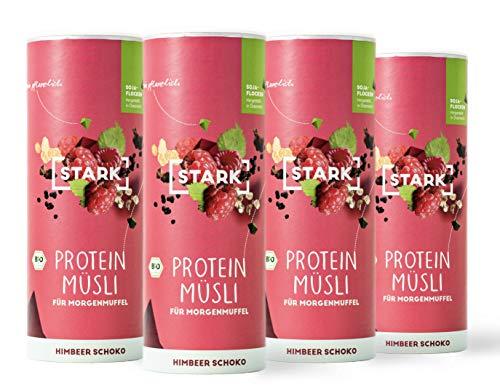 4x STARK Protein Müsli I Veganes Proteinmüsli I 26% Protein I (Himbeer Schoko)
