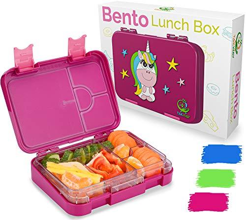 TAKWAY Kinder Bento Box mit Fächern Einhorn lila | Robuste Brotbox mit Unterteilung variabel 4 oder 6 Fächer | Jausenbox Kindergarten KiTa Schule | Brotdose Kinder mit Fächern