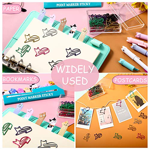 Cute Cat Stationery Set, 1 Canvas Telescopic Pen Holder Transformer Pencil Case, 6 Colorful Cat Black Gel Ink Pens, 30 Cat Shaped Paper Clips Bookmark and 240 Cat Sticky Notes Page Flags Index Tabs Photo #6