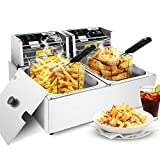 Commercial Deep Fryer with Baskets, 3600W Electric Countertop French Fries Fryer Oil Fryers with 2 Removable Baskets and Adjustable Temperature Limiter for Restaurant, Fast Food Bar