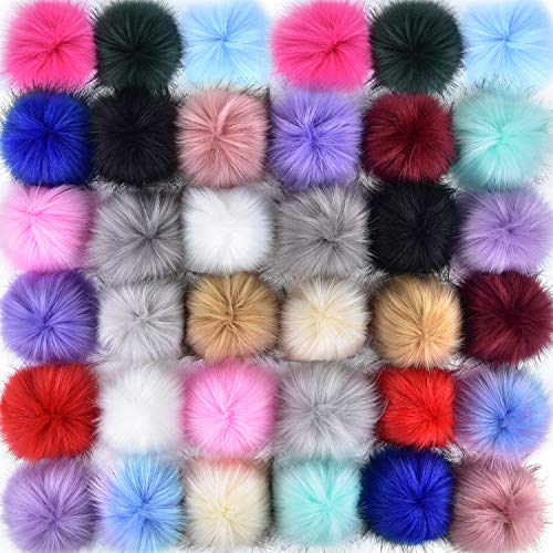 Coopay 36 Pieces Faux Fox Fur Pom Pom Balls DIY Fur Fluffy Pom Pom with Elastic Loop for Hats Keychains Scarves Gloves Bags Charms Knitting Accessories (Multicolor)