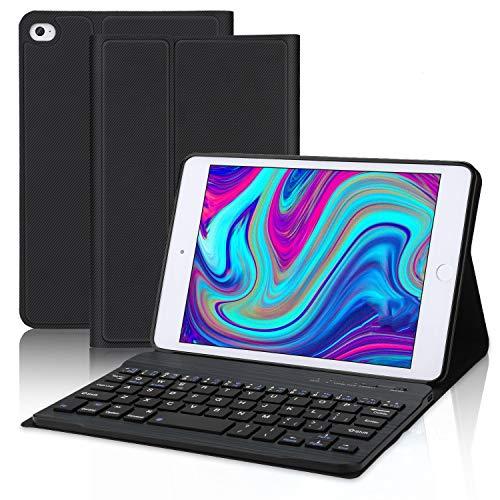 IVEOPPE Funda con teclado para iPad Mini 5 (5ª generación de 2019) / iPad Mini 4/3/2/1, iPad Mini con teclado, funda de piel Folio Smart Slim Cover con teclado extraíble (negro)