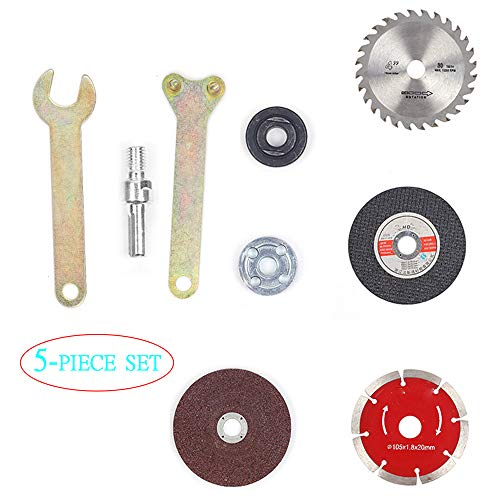 Amoladora angular taladro eléctrico manual, juego 5 piezas corte y pulido, disco de pulido de disco de corte de madera para baldosas de metal, utilizado para amoladora angular de taladro eléctrico