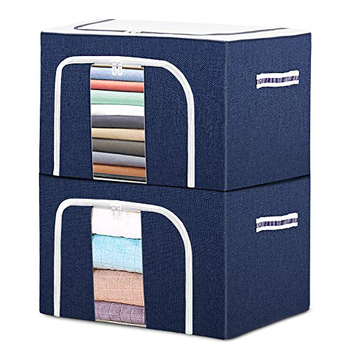 "Clothes Storage Bag Organizer Container - 2X 72L, Waygoal Foldable Oxford Storage Bins Set, with Clear Window & Reinforced Carry Handles, Waterproof, Large Capacity for Closet, Bedding, Linen, Blankets (2-Pack, 20.07""x 15.73"" x 13"")"