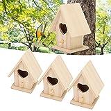 Duokon Caja de pájaros Salvajes Casa de pájaros, 3 Piezas de Madera en Forma de corazón para Colgar en la Puerta, Jaula para nidos para decoración del jardín al Aire Libre