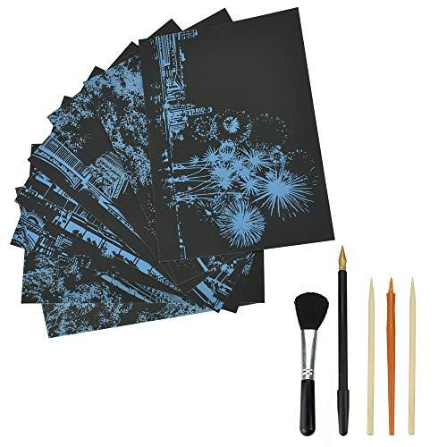AFASOES 8 Stück Kratzbilder Art Set Scratch Paper 5 Holzstiften Werkzeug Kratzpapier Scratch Stift Zum Zeichnen & Basteln Regenbogenfarben Kratzbilderbastelsets für Kinder Erwachsene DIY Zeichnung