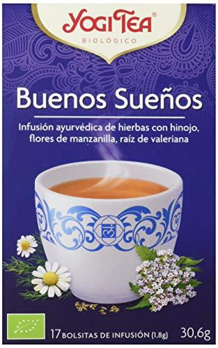 Yogi Tea - Buenos Sueños, Infusión Ayurvédica de Hierbas con Hinojo, Flores de Manzanilla y Raíz de Valeriana - 17 Bolsitas, 30,6g
