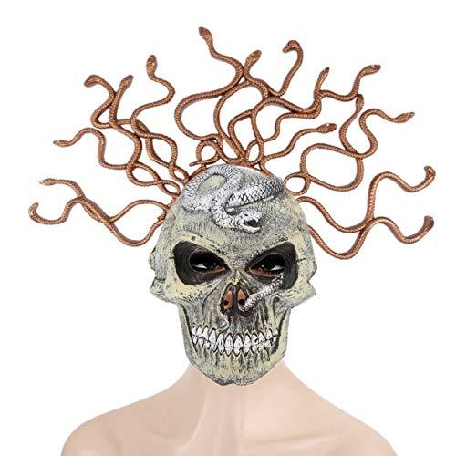 Amosfun Disfraz de serpiente Medusa para disfraz de crneo de Halloween con diseo de serpiente de miedo para Halloween, accesorios de cosplay de color al azar