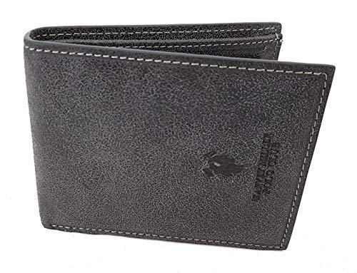 Polo Club portemonnee heren leer met klep en muntvak, 1221-292E zwart 10 x 12 x 2 cm