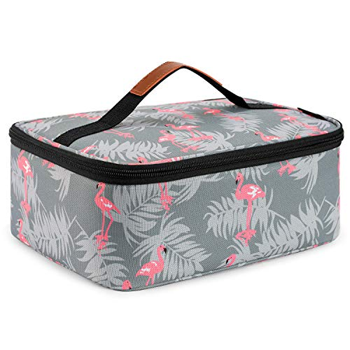 Srotek Lunch Bag Insulated Lunch Box Tote Bag Cooler Bag Water-resistant Cute Lunch Bag Wide-open Thermal Tote Kit for WomenWorkPicnic Grey Flamingo
