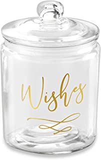 Kate Aspen 27180NA Wish Heart Shaped Cards Blessing Jar, One Size, gold, white