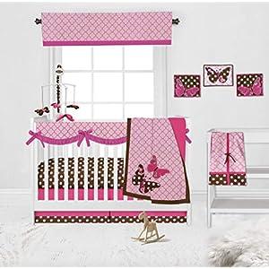 Bacati Girls 10-Piece Butterflies Nursery-in-A-Bag Crib Bedding Set with Long Rail Guard, Pink/Chocolate