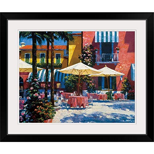 GREATBIGCANVAS Inn at Lake Garda Black Framed Wall Art Print14 x11 x1