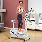 MOMFEI Elliptical Exercise Machine for Home Gym Use Exercise Excersize Equipment Stair Stepper,Running Machine,proform Manual Treadmill,Maquinas para Hacer Ejercicios En Casa (White)