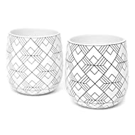 Double Walled Coffee Cups, Dobbelt Set of 2, 6 Ounce, Square Pattern - Insulated Ceramic Mugs for Latte, Cappuccino, Tea - Modern, Contemporary, Art Deco Design - Box Set, by Kop & Hagen