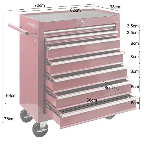 Arebos Werkstattwagen 7 Fächer/zentral abschließbar/Anti-Rutschbeschichtung/Räder mit Festellbremse/Massives Metall/rot, blau oder schwarz (Rot) - 9