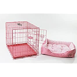 Easipet 24″ Pink Cage with Pink Fleece Dog Bed