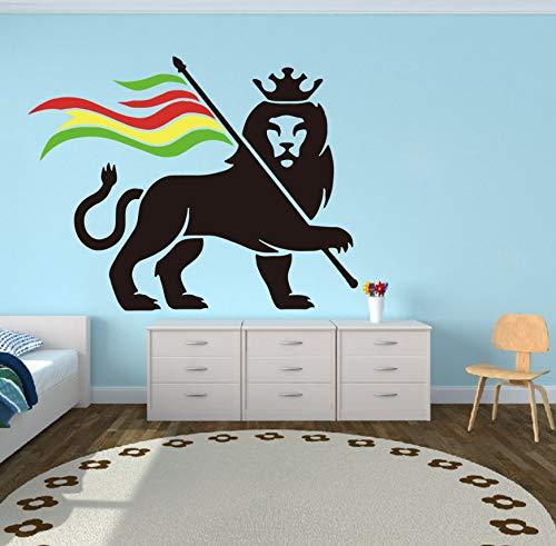 EyingEr Wandtattoo Schlafzimmer Auto Laptop Rastafari Löwe Von Juda Bob Marley Wandaufkleber Vinyl Wohnkultur 53 * 68 Cm