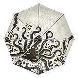 Octopus - Paraguas de viaje compacto, plegable, reversible, resistente al viento, protección UV, mango ergonómico, apertura y cierre automático