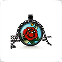 no see long time Red Rose Necklace, Tattoo Rose Pendant, Rockabilly Retro Jewelry, Glass Cameo Necklace, Cabochon Tile Necklace