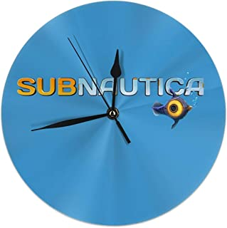 Dadi-Design Subnautica Logo Wall Clock Silent & Non-Ticking Quartz Clock PVC for Home Office School Decorative Round 9.8