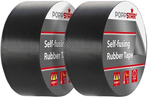 Poppstar selbstverschweißendes Universal Isolierband und Dichtungsband, LxBxH 10m x 50mm x 0,76mm, schwarz, Set aus 2 Rollen
