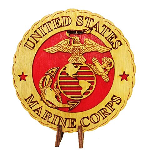 """Armed Forces Marines Military Decorative Laser Three Dimensional Wooden Desk Plaque 4"""""""